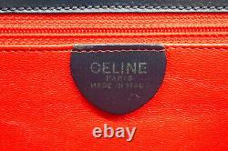 CELINE Vintage Hand bag Classic Inside Red Leather Navy 2510h