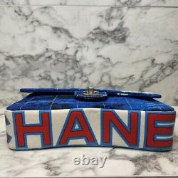 CHANEL 02SS Vintage Rare Red & Blue Surf Collection Canvas Small Flap Bag