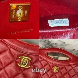 CHANEL 1990 RARE Vintage Red Lambskin Mini Rue Cambon 31 Cut Out Bag Gold Chain