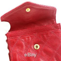 CHANEL CC Bicolore Coin Purse Red Leather Quilted Vintage France Auth #U421 M