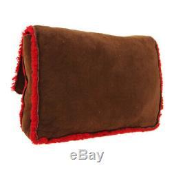 CHANEL CC Clutch Bag Pouch 5431487 Purse Brown Red Mouton Fur Vintage AK38097a