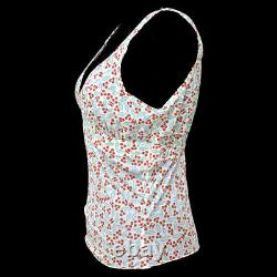 CHANEL CC Floral Sleeveless Tops Ivory Red #40 Vintage AK37992c