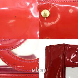 CHANEL CC Logos Hand Tote Bag Clear Red Vinyl Italy Authentic #ZZ990 O