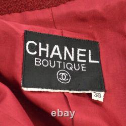 CHANEL CC Logos Long Sleeve Coat Jacket Red Vintage #38 Authentic AK37998f