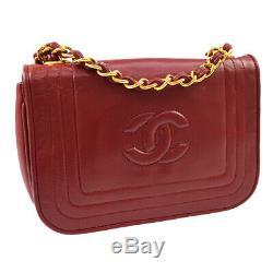 CHANEL CC Logos Single Chain Shoulder Bag Red Leather Vintage 0666124 RK13510d