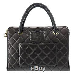 CHANEL CC Quilted Hand Bag Black Lambskin Leather Vintage France Auth #Z59 S
