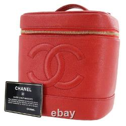 CHANEL CC Vanity Cosmetic Bag Caviar Skin Leather Red Vintage Authentic #AD796