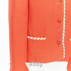 CHANEL CREATIONS Vintage 1970's red orange quilted lining trim jacket US16 XL