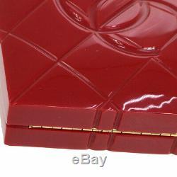 CHANEL Choco Bar Heart Shaped CC Clutch Party Bag Red Plastic VTG GS01987c