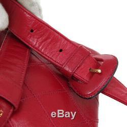 CHANEL Cosmos Line CC Chain Waist Bum Bag Purse Red Leather Vintage K08831