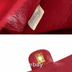 CHANEL Matelasse 25 Chain Shoulder Bag Leather Red A01112 Vintage 90109404