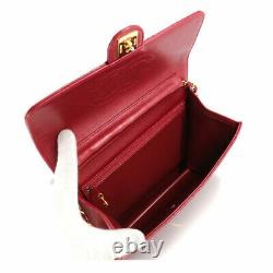 CHANEL Matelasse Chain Shoulder Bag Leather Red A03569 Vintage 90105917