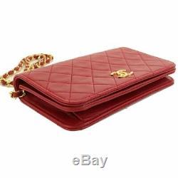 CHANEL Mini Matelasse Chain Shoulder Bag Leather Red Vintage 90100567