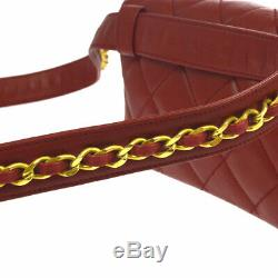 CHANEL Quilted CC Chain Belt Waist Bum Bag Purse Red Leather Vintage AK33021