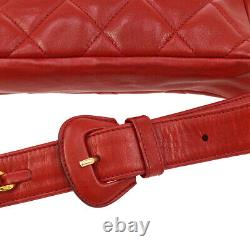 CHANEL Quilted CC Chain Waist Bum Bag Purse Red Leather Vintage Auth NR11689e