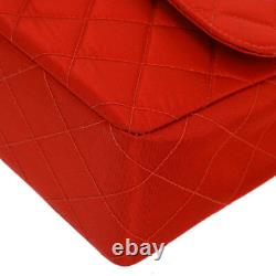 CHANEL Quilted CC Double Chain Shoulder Bag Red Satin Vintage G03695j