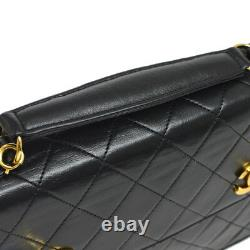 CHANEL Quilted CC Logos Chain 2way Hand Bag Black Leather Vintage AK36802k