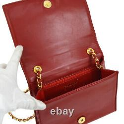 CHANEL Quilted CC Single Chain Shoulder Bag Red Leather Vintage AK31791h