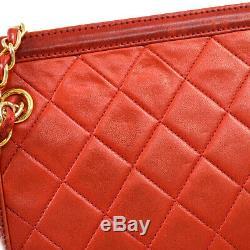 CHANEL Quilted Fringe CC Chain Shoulder Bag Red Leather 1289761 Vintage V31308