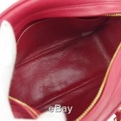 CHANEL Quilted Fringe CC Single Chain Shoulder Bag Red Leather Vintage AK39408