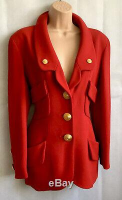 CHANEL Red Wool Vintage Coat Jacket CC Logo Large Buttons Size 42