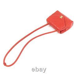 CHANEL V Stitch Shoulder Bag Leather Red CC Vintage Purse 90107449