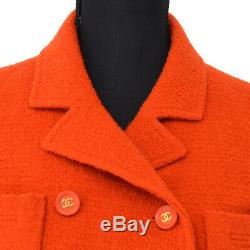 CHANEL Vintage CC Logos Button Long Sleeve Coat Jacket Red #36 AK36808f