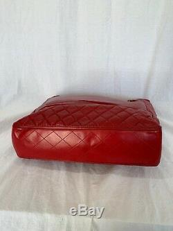 CHANEL Vintage Classic Quilted Red Leather Chain Link Tote Shoulder Bag Purse