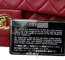 CHANEL Vintage True RED Small Classic Double Flap Bag 24k GHW