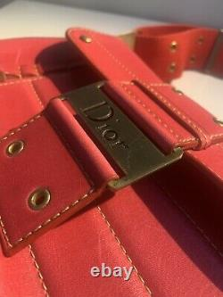 CHRISTIAN DIOR Authentic Vintage Diorissimo Mini Shoulder Leather Bag Purse RED
