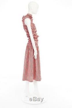 COMME DES GARCONS Vintage SS97 Lumps Bumps red white gingham irregular cut dress