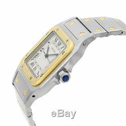 Cartier Santos Galbee Steel Gold Roman Cream Dial Automatic Watch 2961