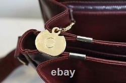 Celine Nubuck Leather Box Bag Burgandy Vintage