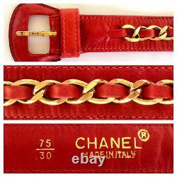 Chanel CC Logo Red Leather Belt Waist Bum Bag Purse Handbag Fits 30 27