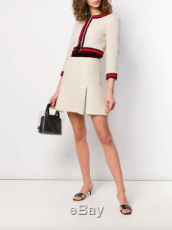 Chanel Vintage 01A Ecru Red Black Jacket Skirt Suit