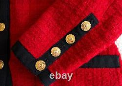 Chanel Vintage Fall Winter 1989 Red Black Gold Tweed Jacket