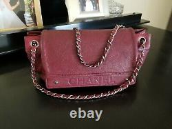 Chanel Vintage Logo Accordion Flap Bag Caviar Burgundy & Chanel Authentic Card