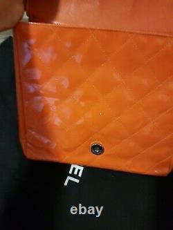 Chanel vintage red oranged patent leather handbag bag authentic vintage