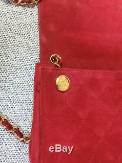Chanel vintage true red suede gold chain mini bag
