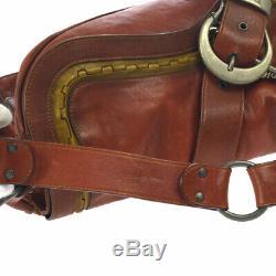 Christian Dior Gaucho Shoulder Bag Red Leather Italy Vintage AK31792c