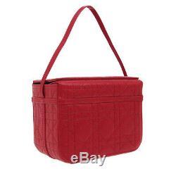 Christian Dior Lady Dior Cannage Hand Bag CM0077 Red Leather Vintage BT16878