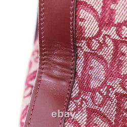 Christian Dior Trotter Hand Bag Bordeaux Canvas Leather Italy Authentic #OO746 Y