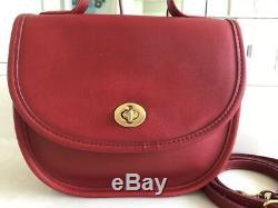 Coach Vintage Bella Court Red Crossbody Convert Handle Bag Purse Rare! Euc