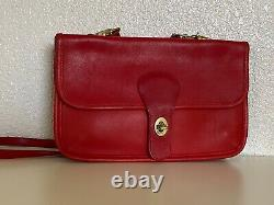 Coach Vintage Bonnie Cashin Double Sided Turnlock Red Leather Shoulder Bag