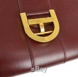 DELVAUX Le Brillant Hand Bag Red Leather Belgium Vintage GHW NR13980k