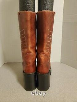 Destroy Vintage 90's Platform Leather Boots Red women's 7.5M 38