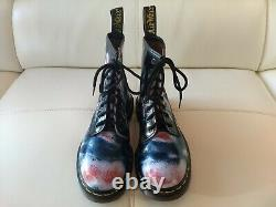 Doc Dr. Martens Blue Red White Rub-off Boots Made In England Vintage Rare 6uk