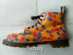 Doc Dr. Martens Orange Fingerprint Boots Rare Vintage Made In England Unisex 6uk