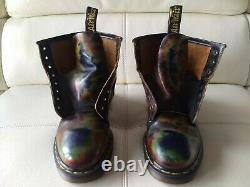 Doc Dr. Martens Red Green Blue Rub-off Boots Made In England Vintage Rare 7uk