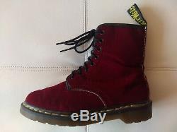 Doc Dr Martens Red Ze You Velvet Boots Made In England Rare Vintage Unisex 5.5uk